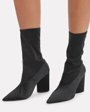 Stretch Canvas Sock Booties, BLACK, hi-res