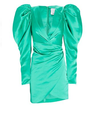 Irwin Satin Mini Wrap Dress, GREEN, hi-res