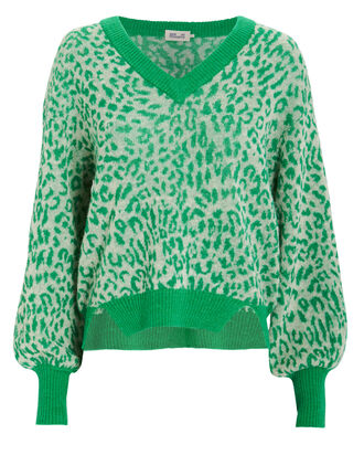 Charlize Leopard Print Sweater, GREEN/LEOPARD, hi-res