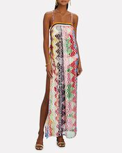 Knit Chevron Sleeveless Maxi Dress, PINK/RED/BLUE, hi-res
