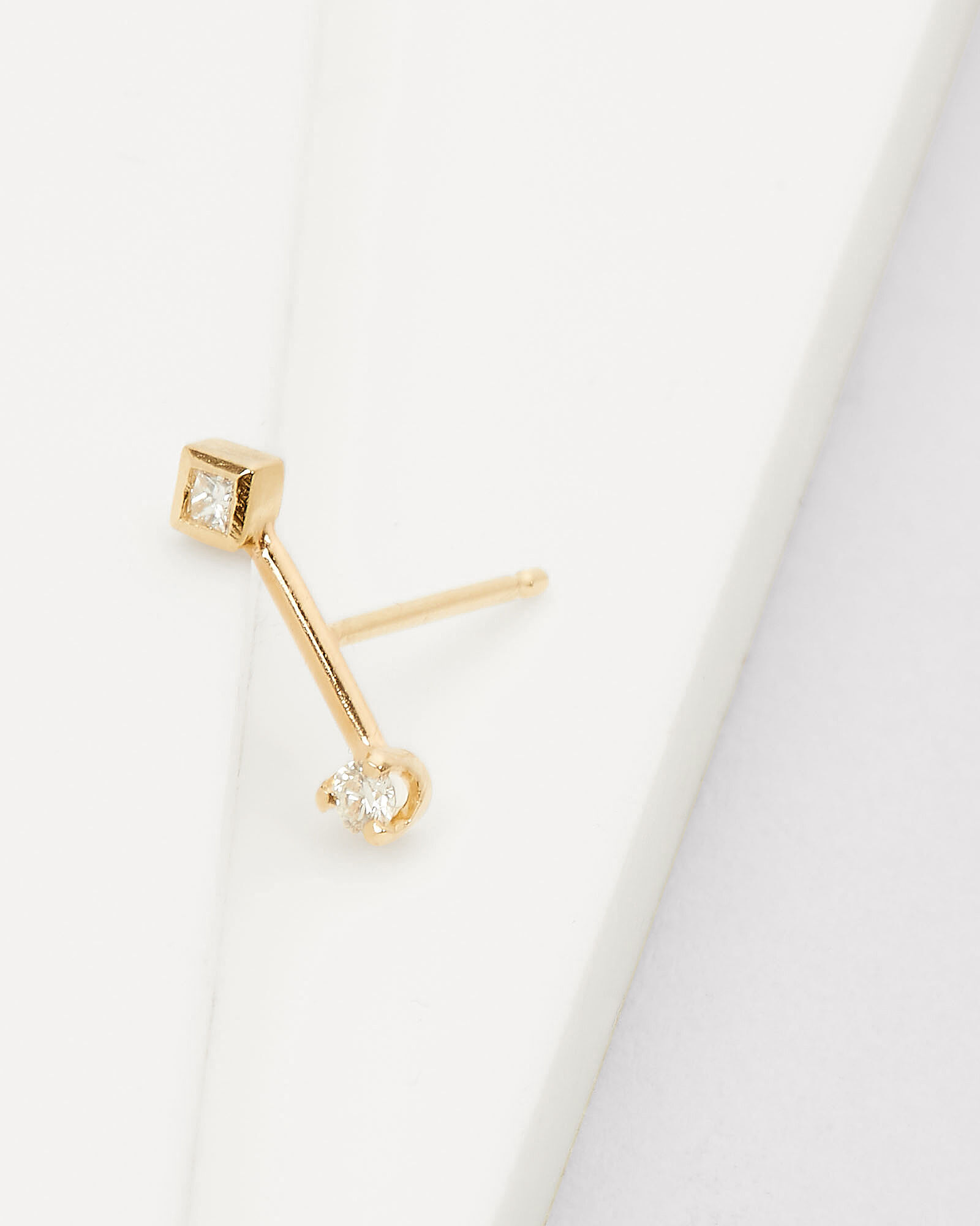 Barbell Diamond Single Stud Earring, GOLD, hi-res