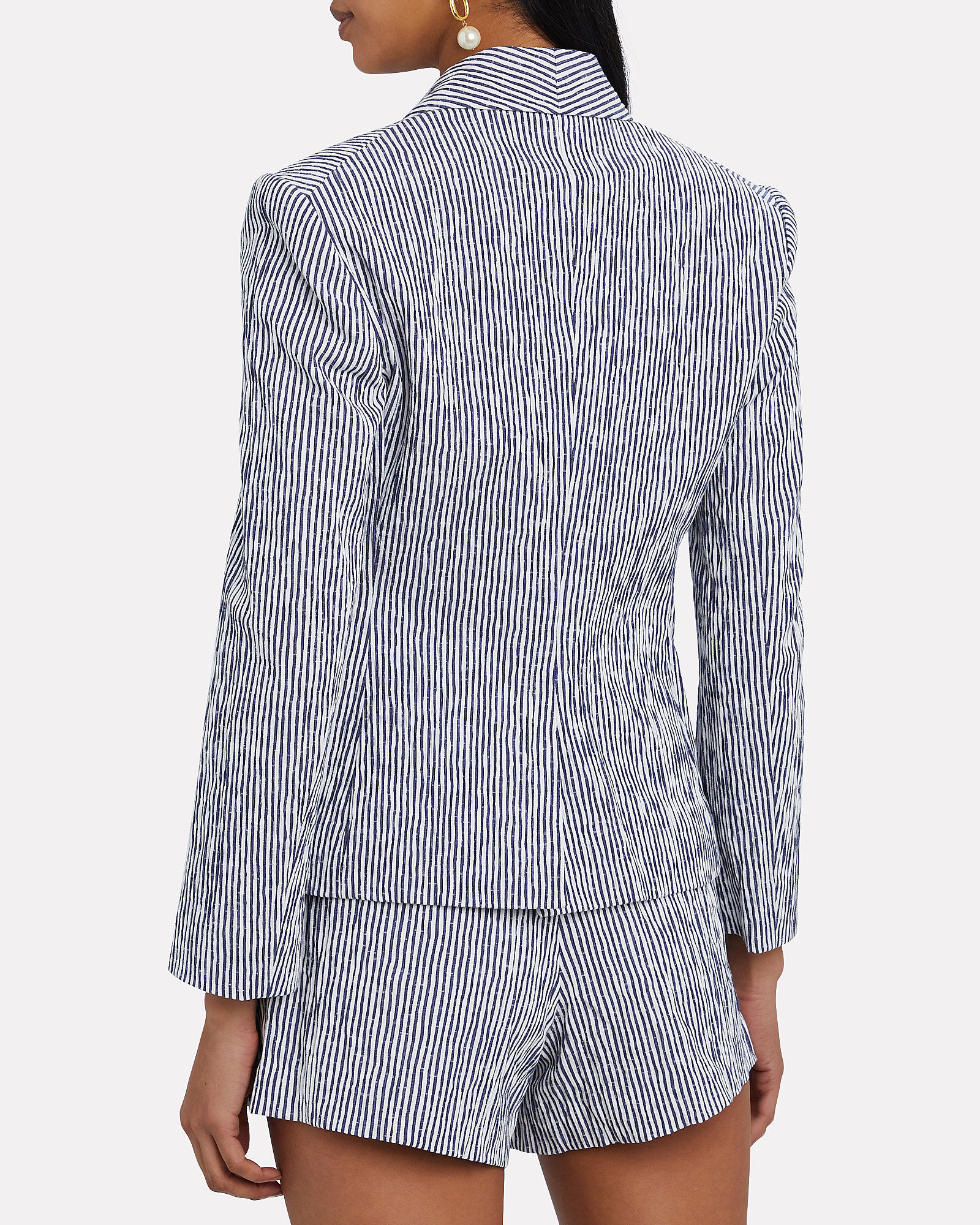 Myla Striped Double-Breasted Blazer, NAVY/WHITE, hi-res