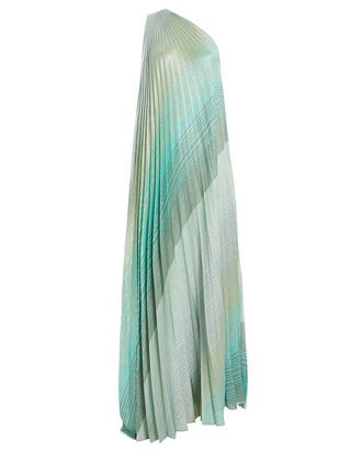 Pleated One-Shoulder Gown, BLUE-LT, hi-res