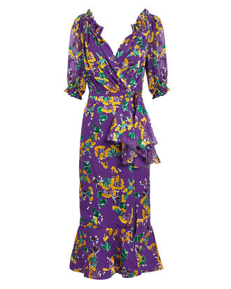 Olivia Floral Midi Dress, PURPLE/YELLOW/GREEN, hi-res