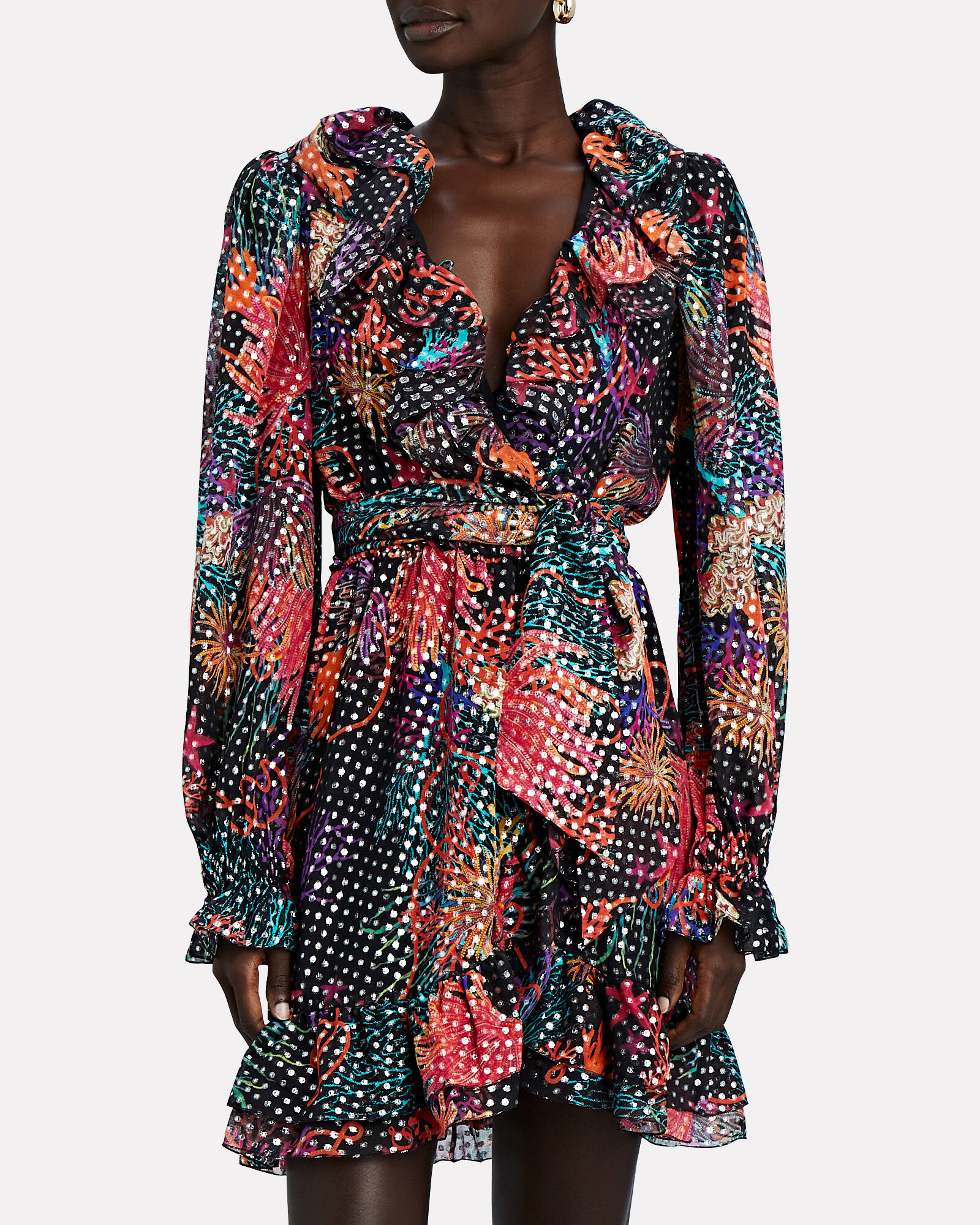 Ruffled Lurex Floral Wrap Dress, MULTI, hi-res
