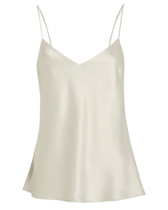 Satin V-Neck Camisole, PLATINUM, hi-res