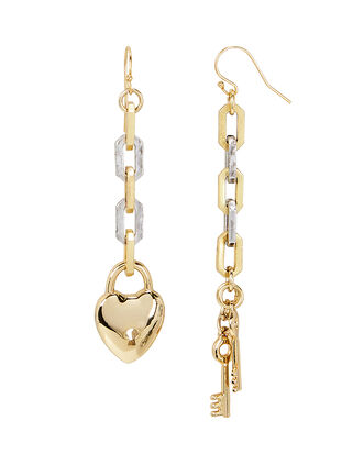 Folly Heart Drop Earrings, GOLD/SILVER, hi-res