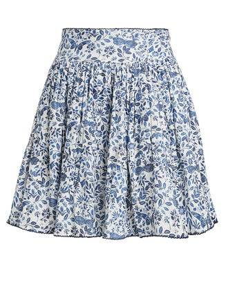 Tropic Paisley Linen Mini Skirt, NAVY PAISLEY, hi-res