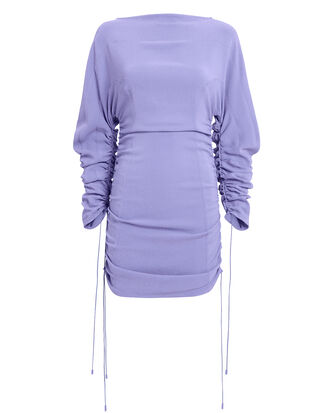 Ruched Mini Dress, PERIWINKLE, hi-res