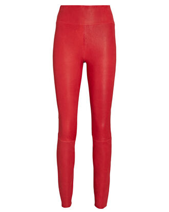 High-Waist Leather Ankle Leggings, RED, hi-res