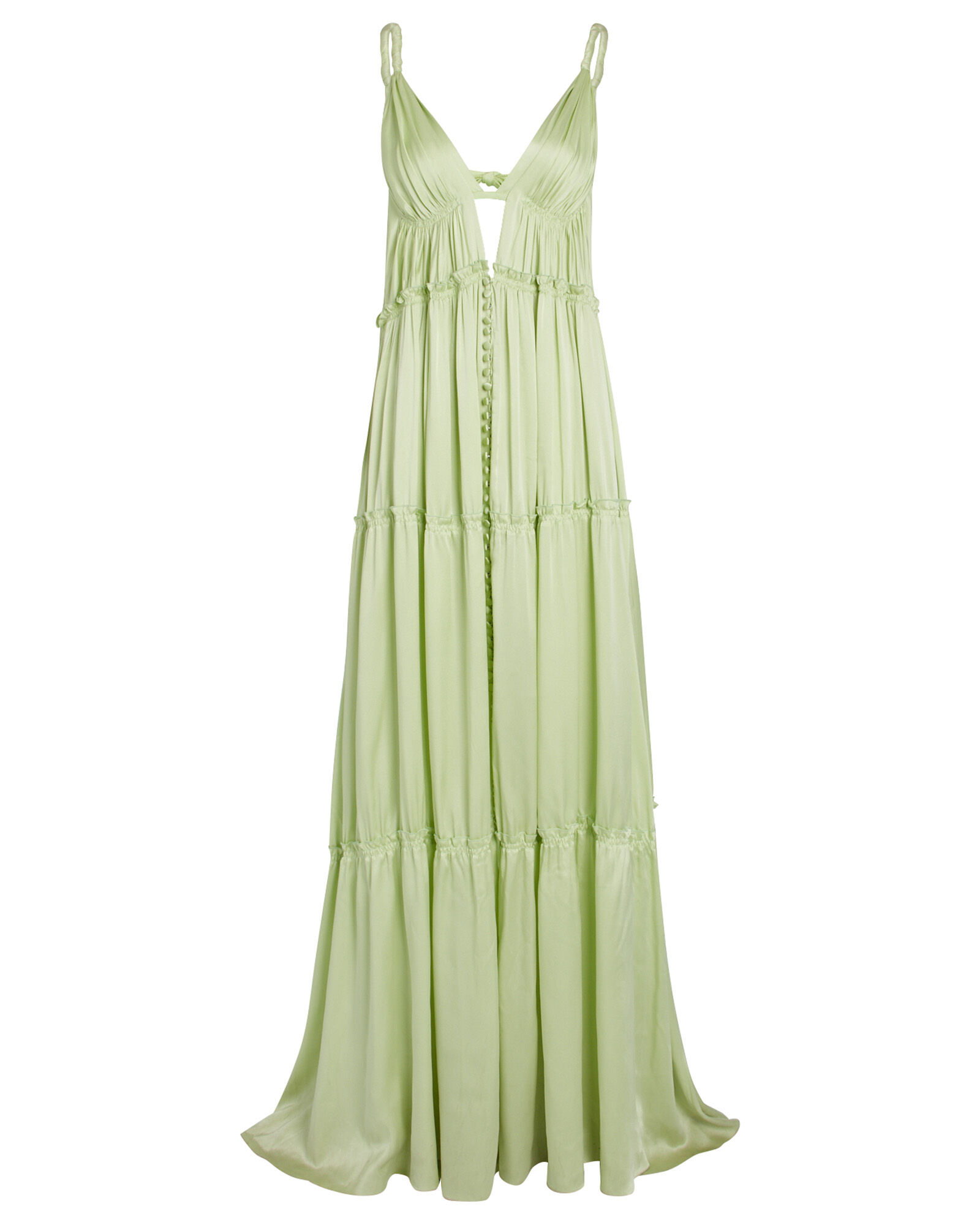 Jade Tiered Silk Charmeuse Gown, GREEN-LT, hi-res