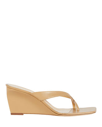 Theresa Leather Wedge Sandals, BEIGE, hi-res