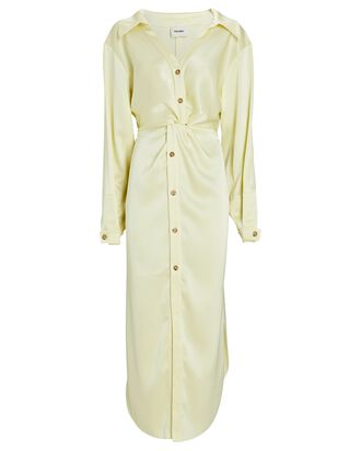 Twisted Midi Satin Shirt Dress, LIGHT YELLOW, hi-res