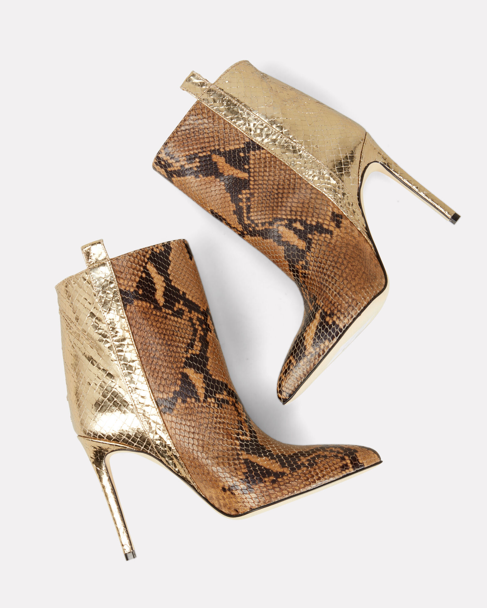 Two Tone Snakeskin Booties, BROWN/GOLD, hi-res