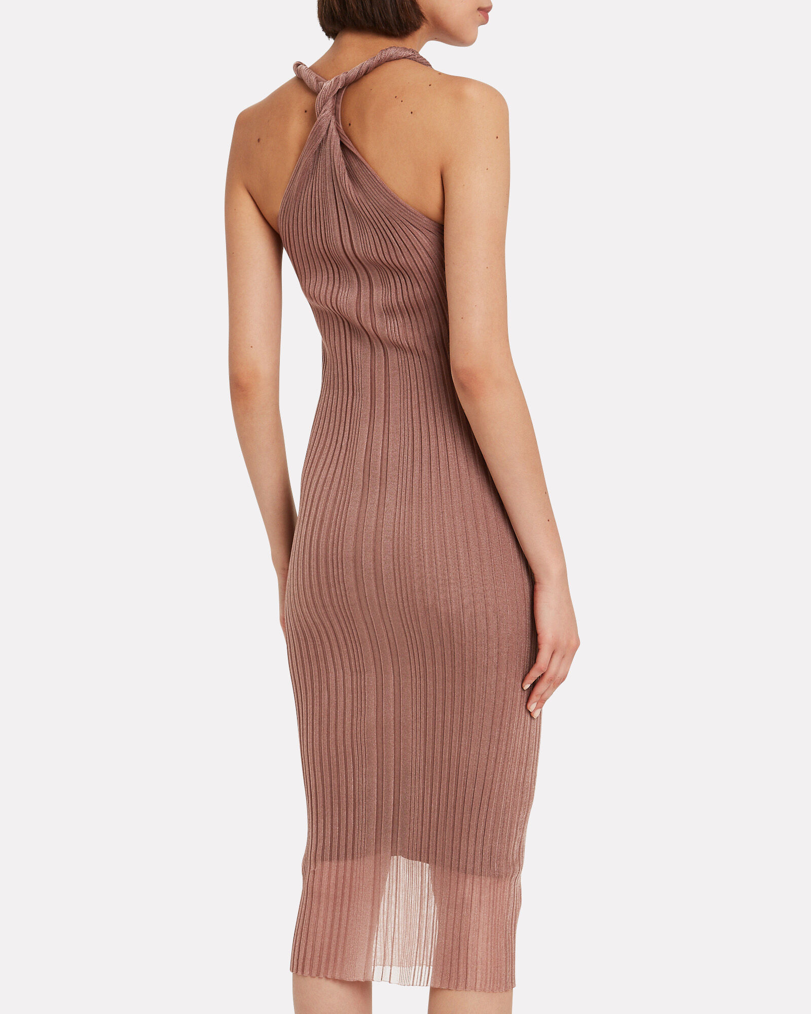 Twist Strap Pleated Dress, BROWN, hi-res