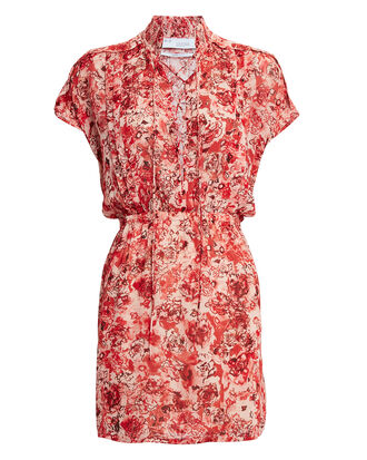 Releila Floral Print Mini Dress, RED, hi-res