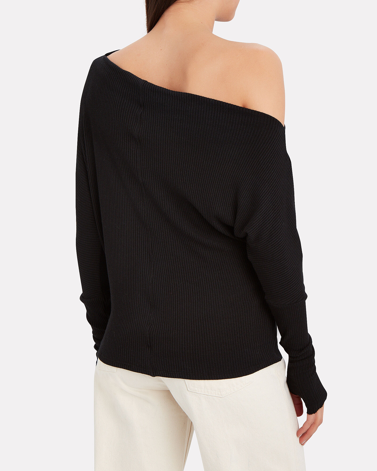 Slouch Ribbed Jersey Top, BLACK, hi-res