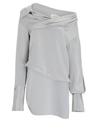 Stella Asymmetrical Silk Blouse, GREY, hi-res