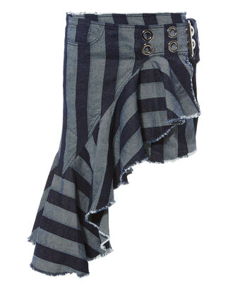 Wrap Frill Asymmetric Skirt, DENIM-LT, hi-res