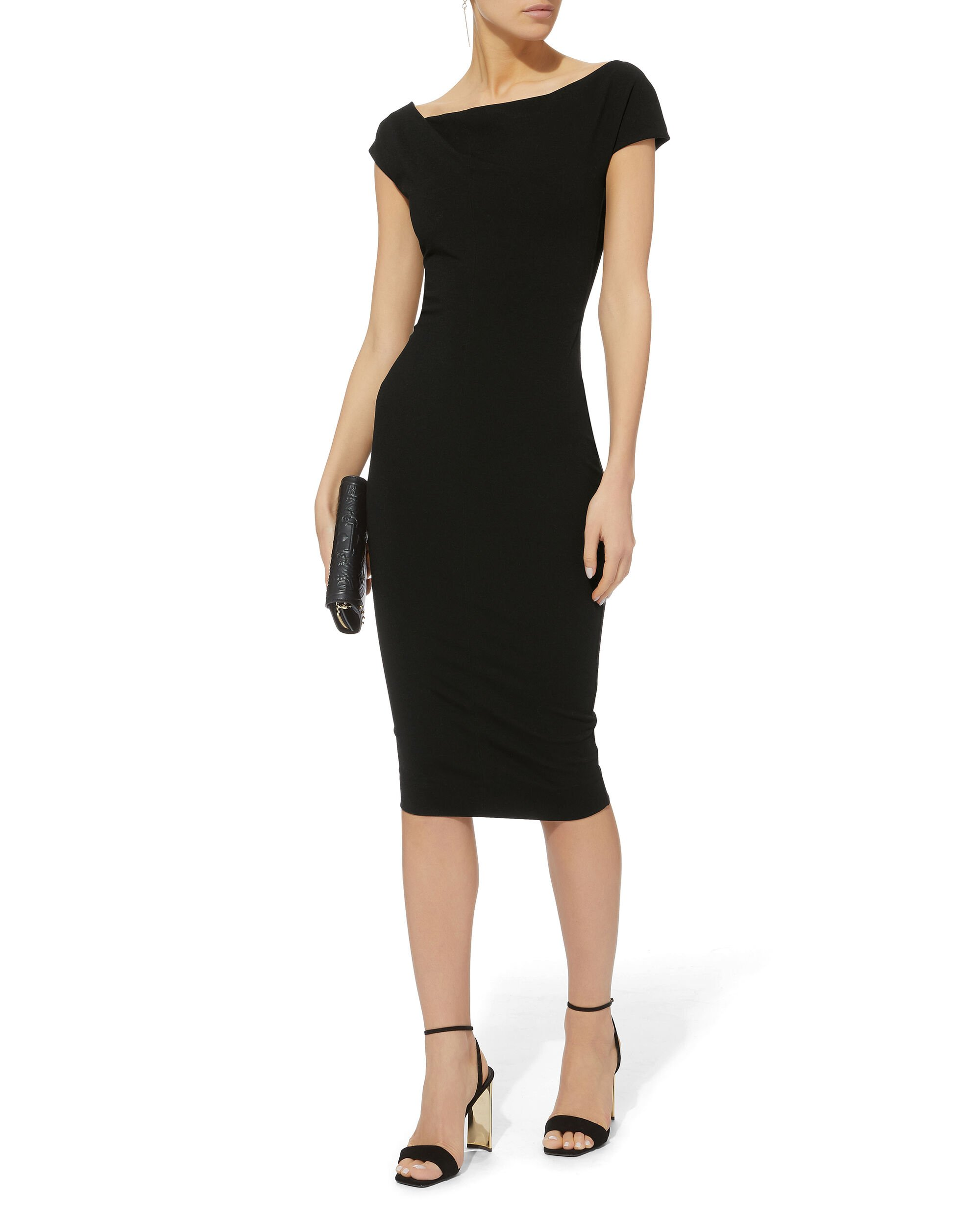 Twist Shoulder Fitted Midi Dress, BLACK, hi-res