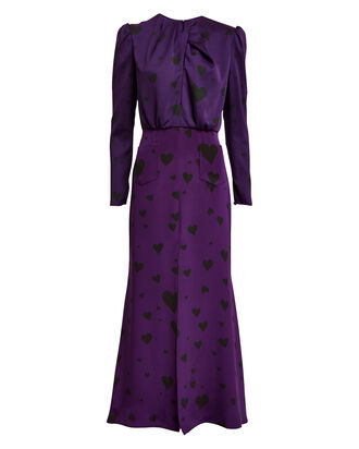Liza Heart Print Crepe Dress, PURPLE/HEART PRINT, hi-res