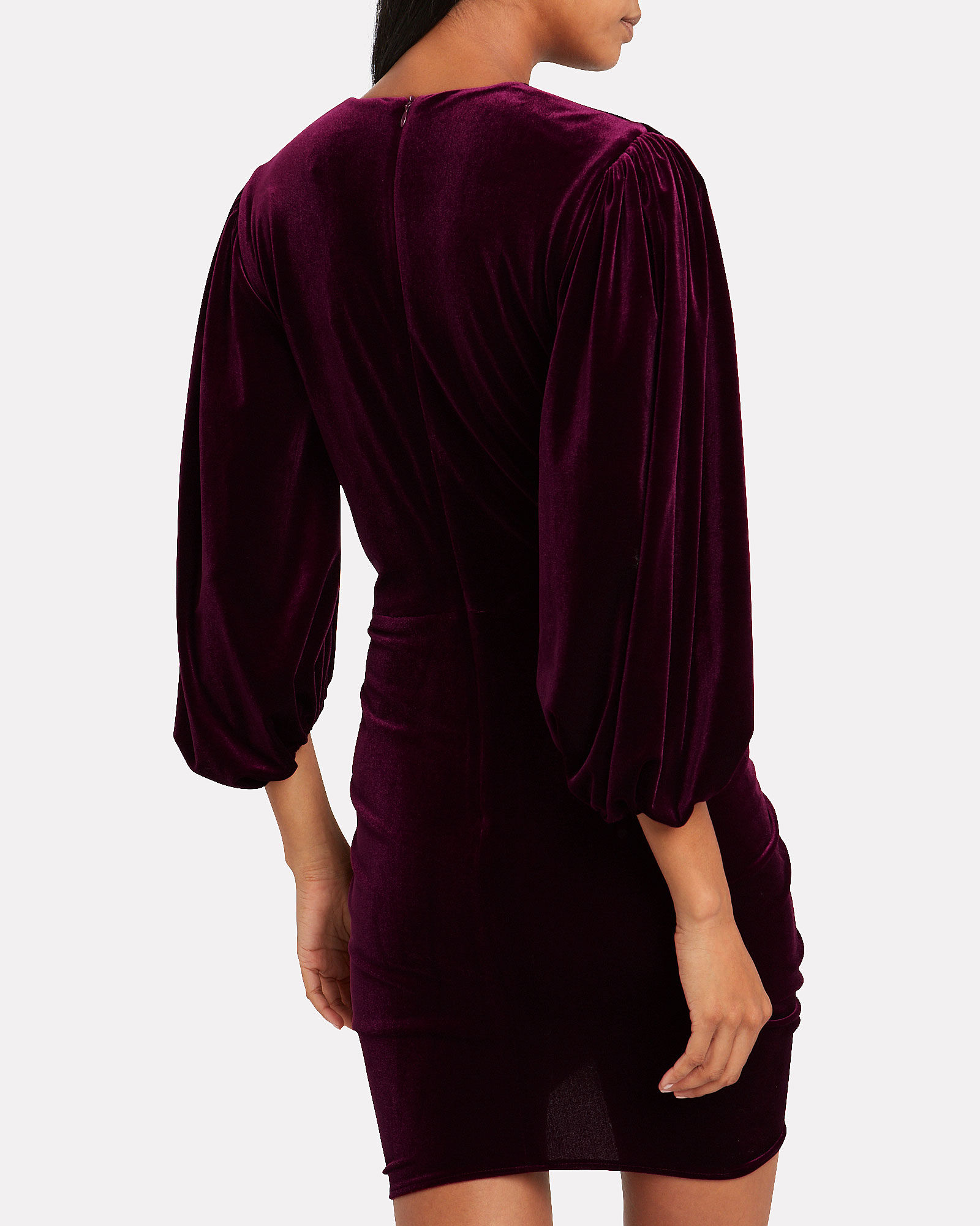 Draped Velvet Puff Sleeve Dress, RED-DRK, hi-res