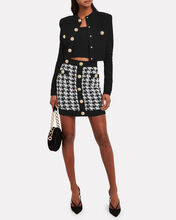 Houndstooth Tweed Mini Skirt, BLK/WHT, hi-res