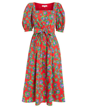 Corin Poplin Printed Dress, RED/GREEN PRINT, hi-res