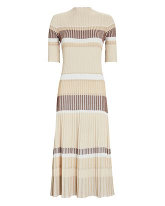 Zig-Zag Stripe Rib Knit Midi Dress, BEIGE, hi-res