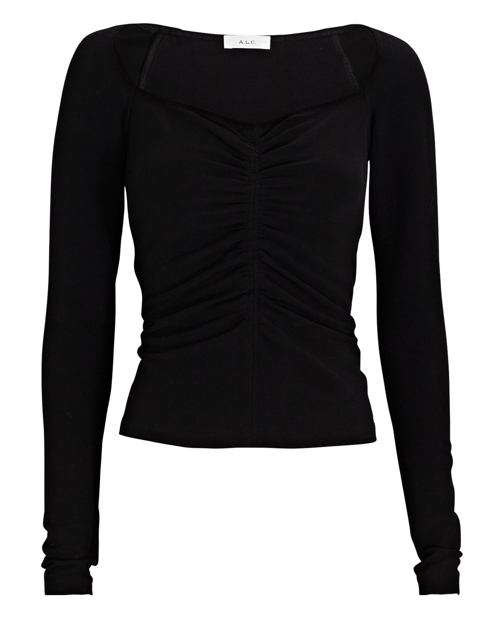 Halley Ruched Long Sleeve T-Shirt, BLACK, hi-res