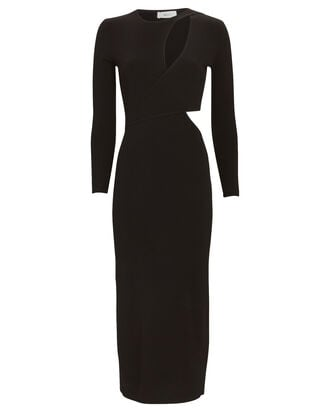 Lorelei Cut-Out Knit Midi Dress, BLACK, hi-res