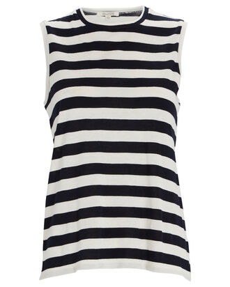 Striped Cotton Muscle T-Shirt, BLACK/WHITE, hi-res