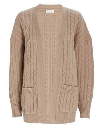 Penny Cable Knit Wool Cardigan, BEIGE, hi-res