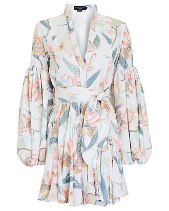 Carta Y Letra Floral Puff Sleeve Dress, WHITE/PINK/BLUE, hi-res