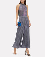 Pleated Wide Leg Pants, PURPLE/SILVER, hi-res