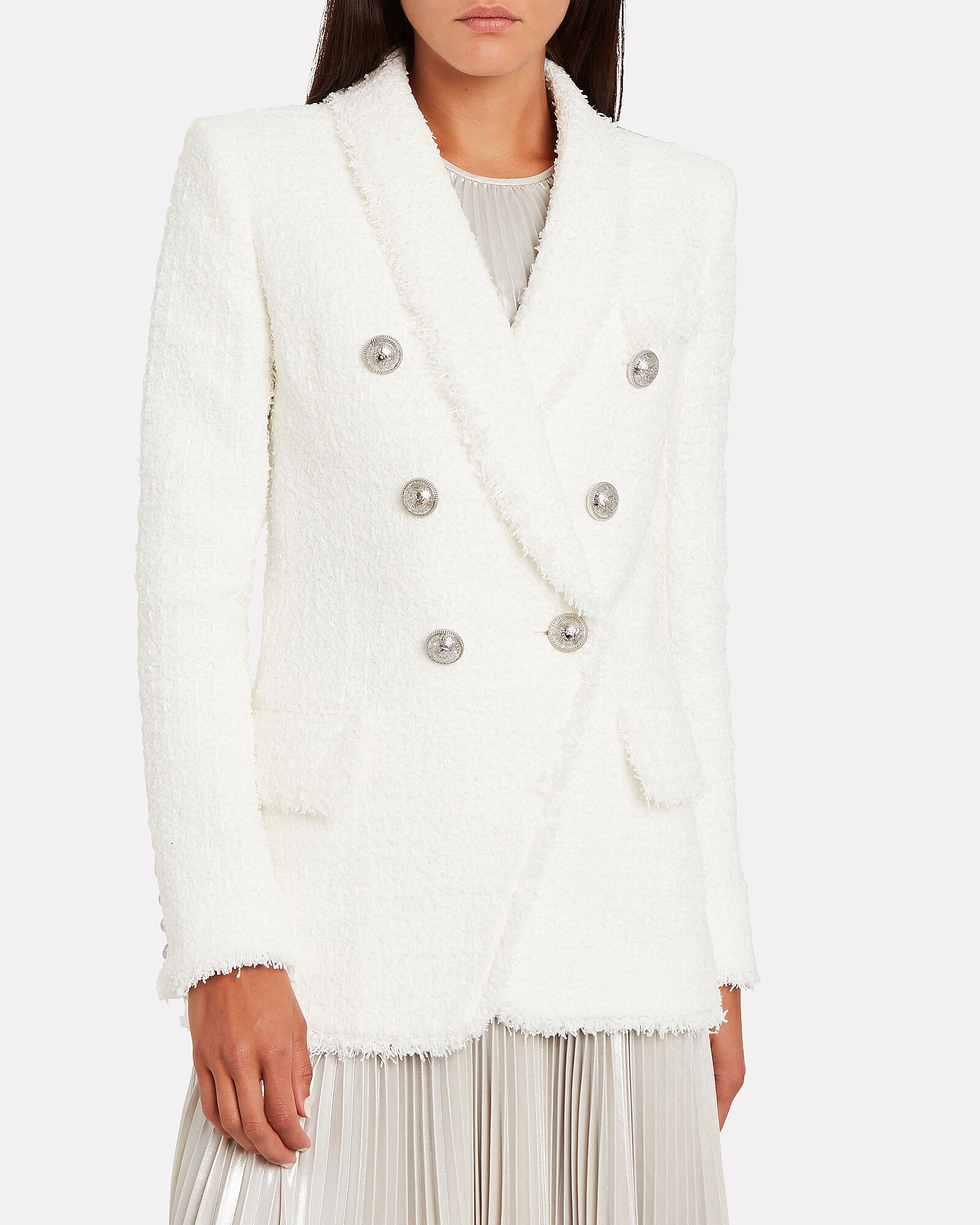Double Breasted Tweed Blazer, WHITE, hi-res