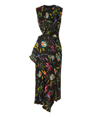 Floral Crinkle Day Dress, BLACK, hi-res
