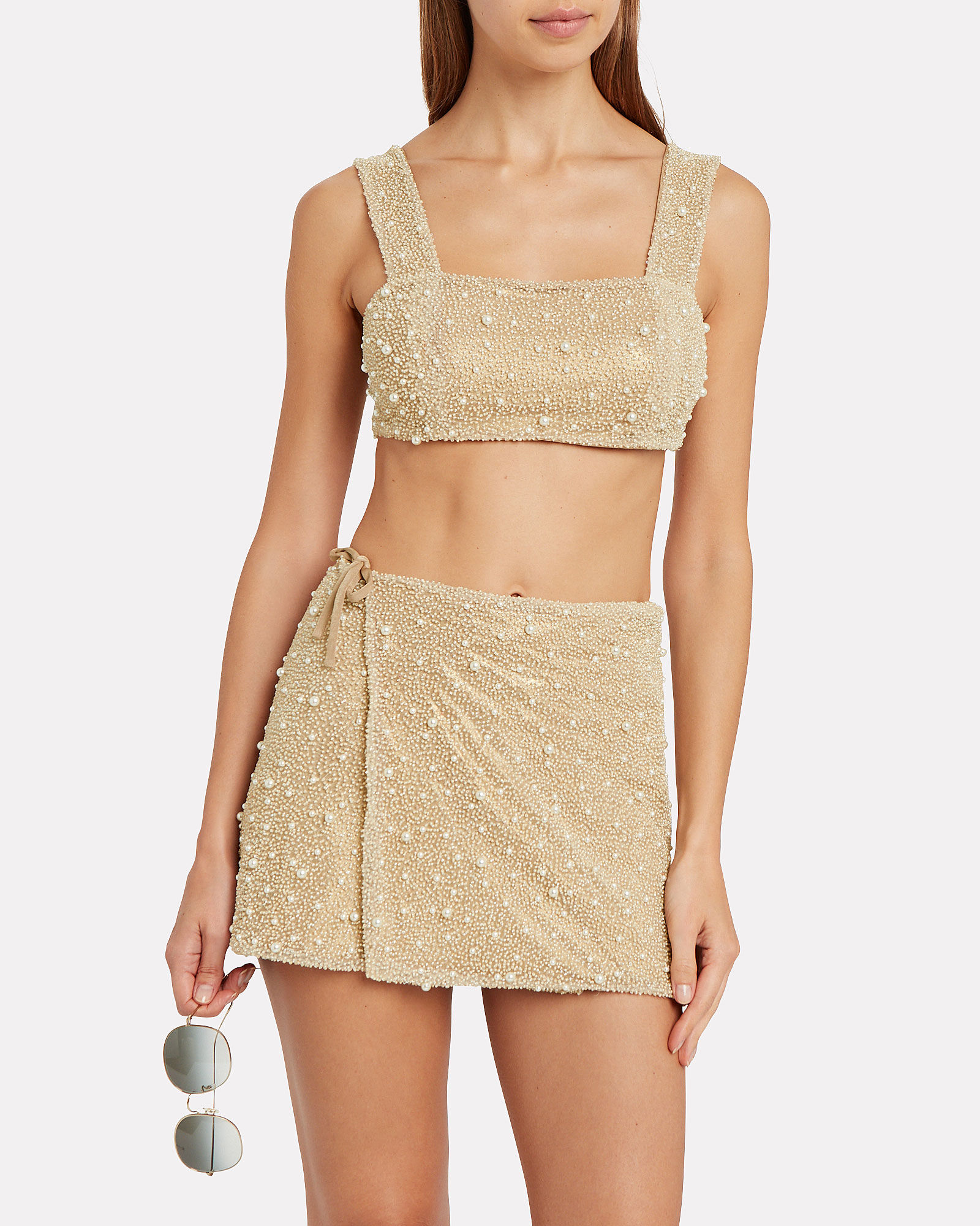 Mare Beaded Wrap Mini Skirt, GOLD, hi-res