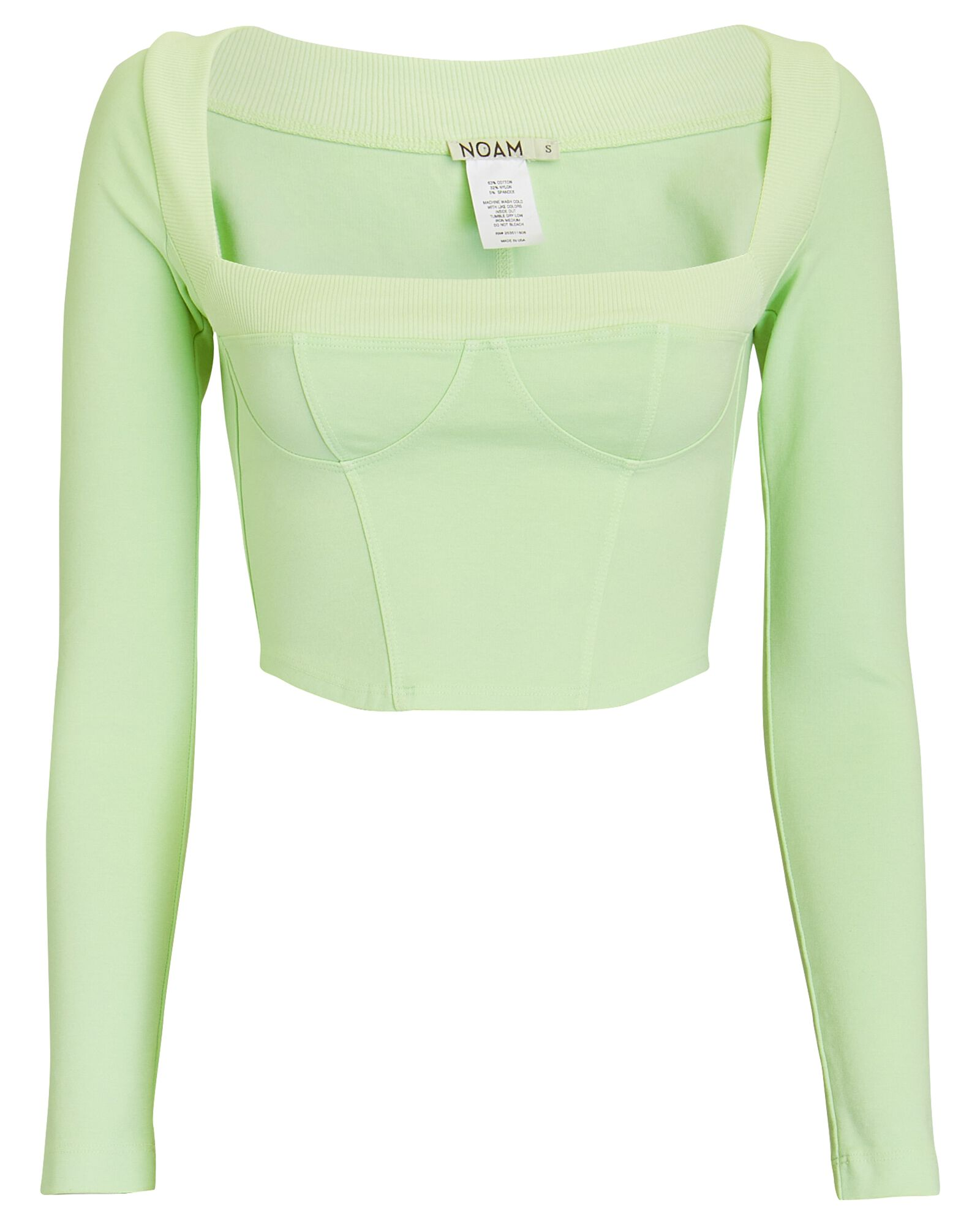 Tula Cropped Bustier Jersey Top, LIGHT GREEN, hi-res