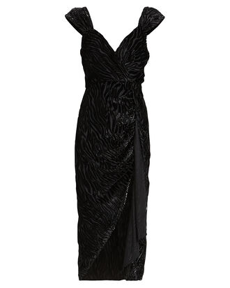 Farrah Tiger Devoré Dress, BLACK, hi-res