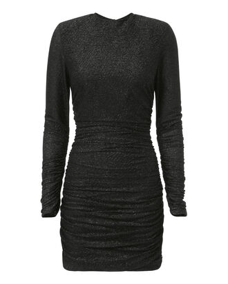 Ruched Shimmer Jersey Mini Dress, BLACK, hi-res
