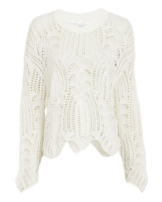 Rhapsody Open Knit Sweater, WHITE, hi-res