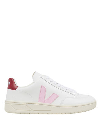 V-12 Leather Sneakers, WHITE/PINK, hi-res
