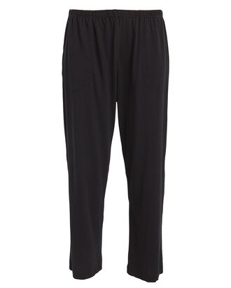 Oaklie Cropped Cotton Lounge Pants, BLACK, hi-res