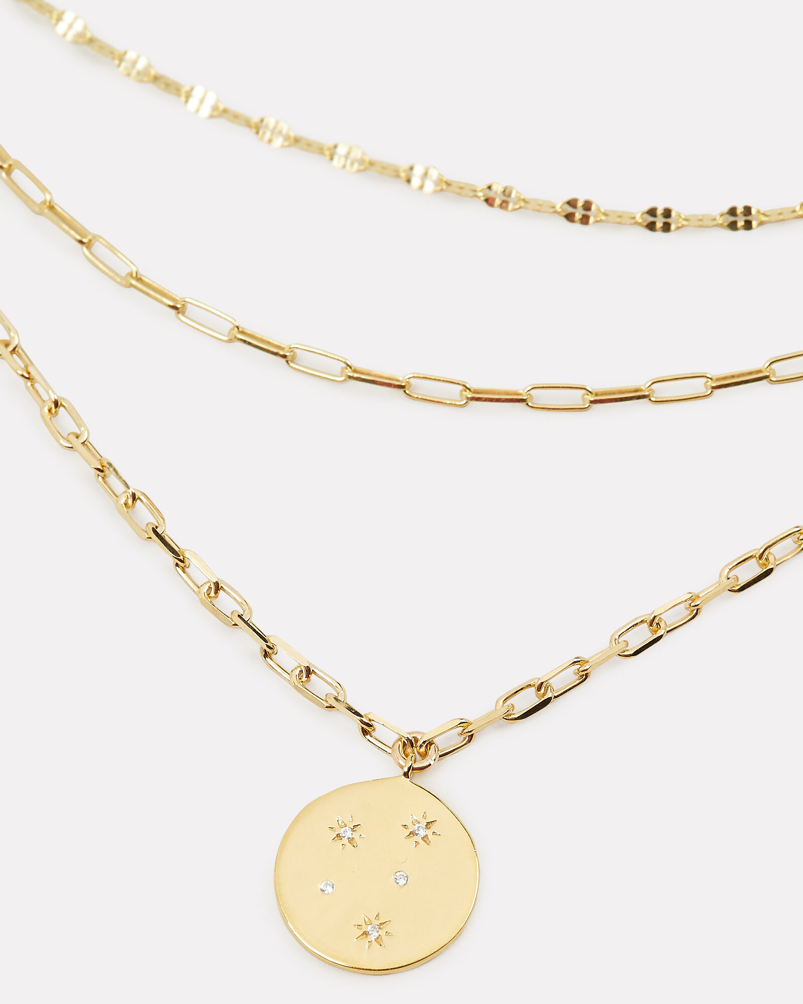 Starburst Triple Layered Chain Necklace, GOLD, hi-res