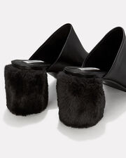 Faux Fur Block Heel Mules, BLACK, hi-res