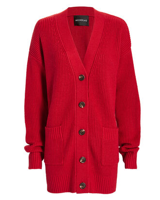 Chunky Cardigan, RED, hi-res