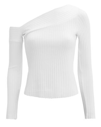 Ribbed Off Shoulder Top, WHITE, hi-res