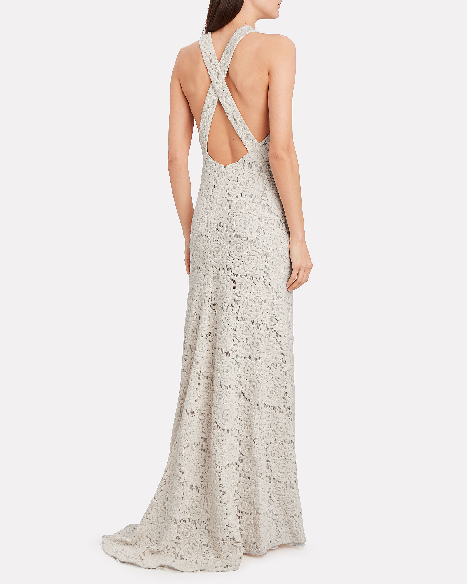 Rose Lace Sleeveless Gown, IVORY, hi-res