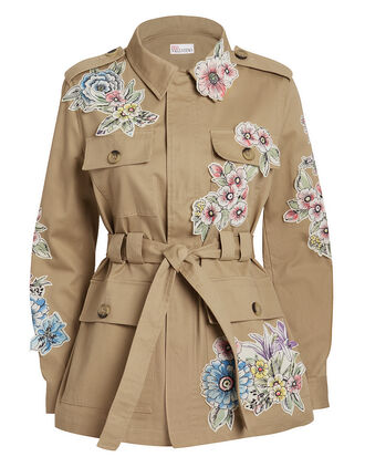 Embroidered Jacket, TAN/FLORAL, hi-res